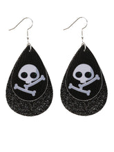Load image into Gallery viewer, Halloween Double PU Leather Earrings Skull Sequins Drop Shaped Earrings