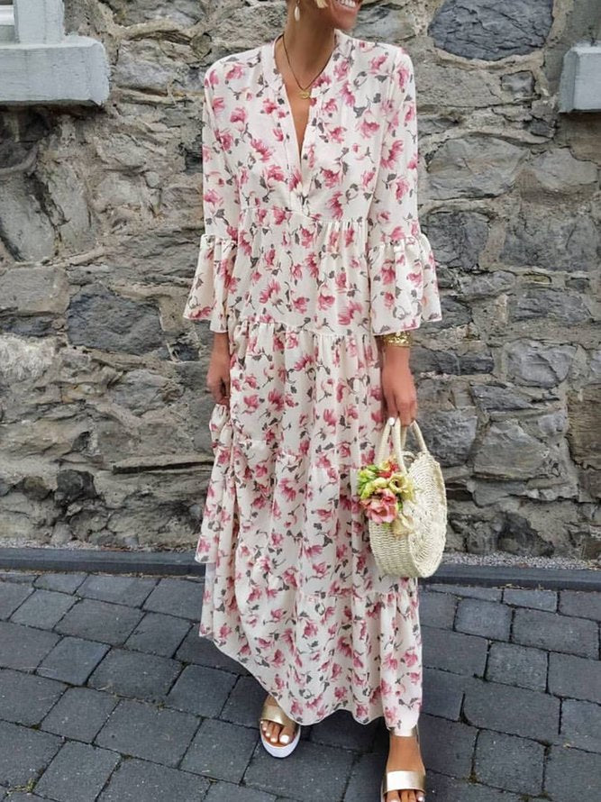 Floral Frill Sleeves V-Neck Paneled Maxi Dresses