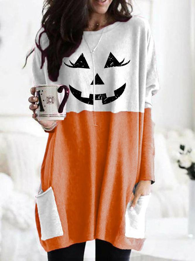 Women's Halloween Fun Printed Casual Long Sleeve T-Shirt