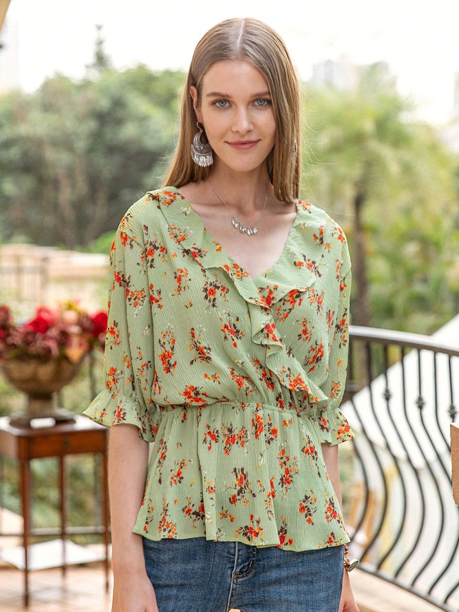 Women Frill Sleeve Floral V Neck Top