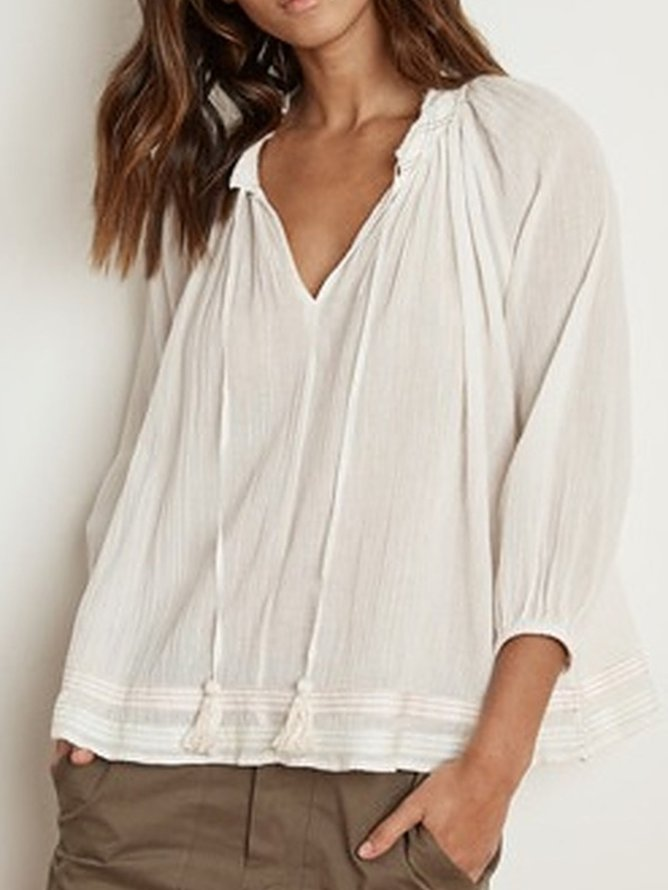 Cotton 3/4 Sleeve V Neck Shirts & Tops