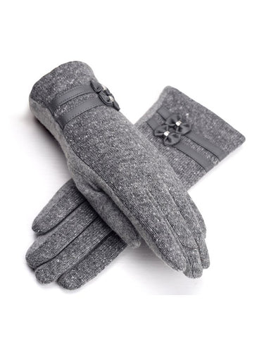 Gray Wool Casual Solid Glove