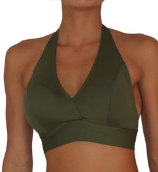 D CUP HALTER TOP -OLIVE