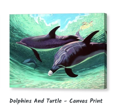 MARK ART - Dolphins And Turtle - Canvas Print