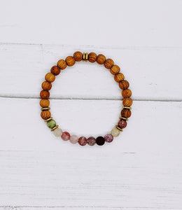 Ladies Watermelon Tourmaline Diffuser Bracelet | Aromatherapy Jewelry