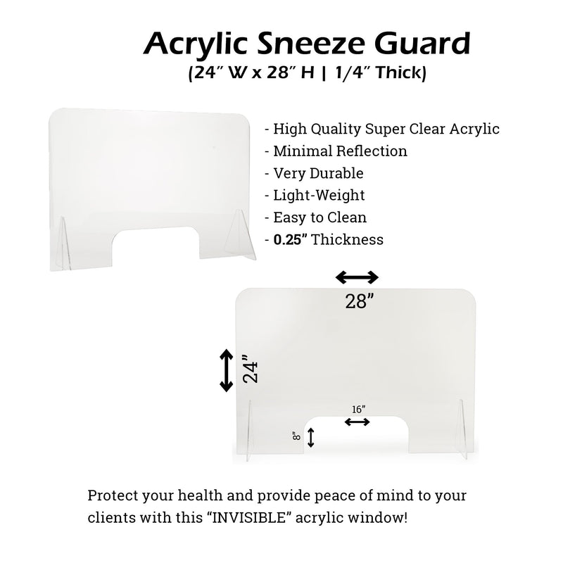 "Sneeze Guard, Extra-Thick (1/4"") Transparent Acrylic Protection Shield Nail Station (24"" H x 28"" W)"