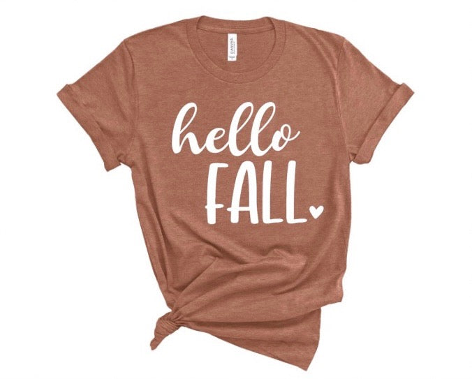 """hello fall"" crew neck tee"