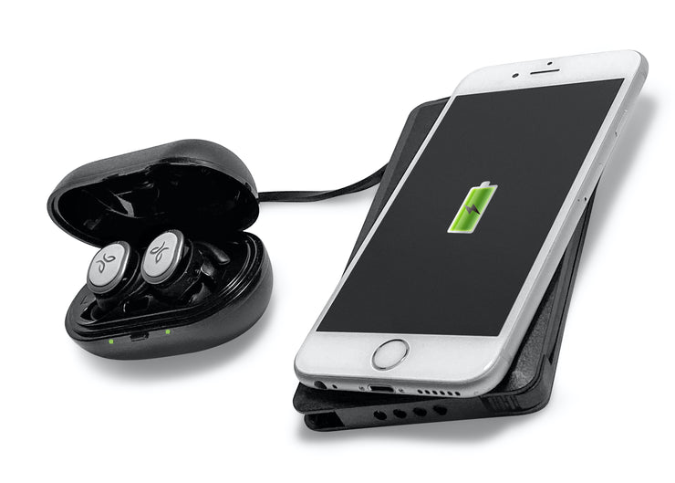 FoneSaver Power Bank wirelessly charging iPhone and earphones