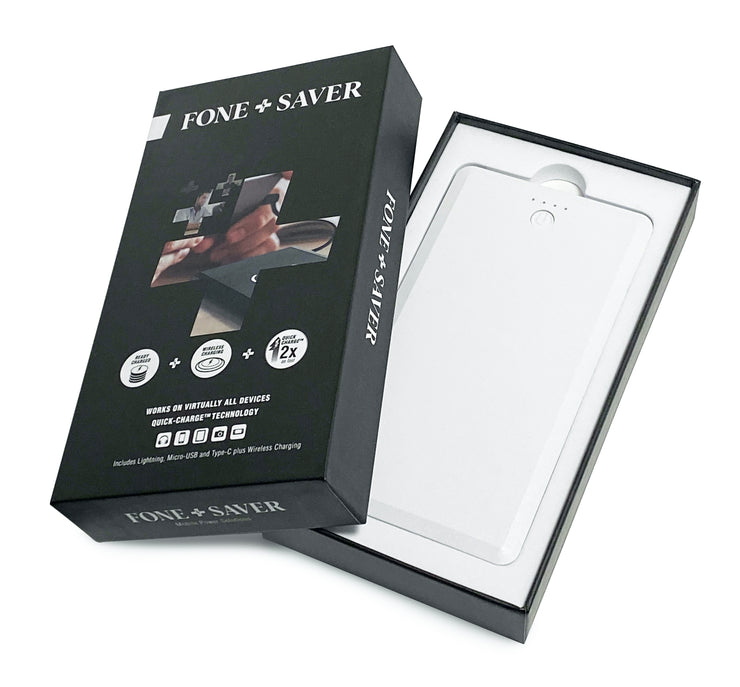 White FoneSaver Power Bank Portable Battery in packaging