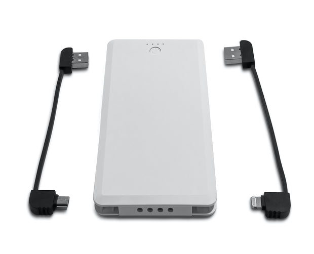 White FoneSaver Power Bank Portable Battery with USB-C and Lightning cable removed