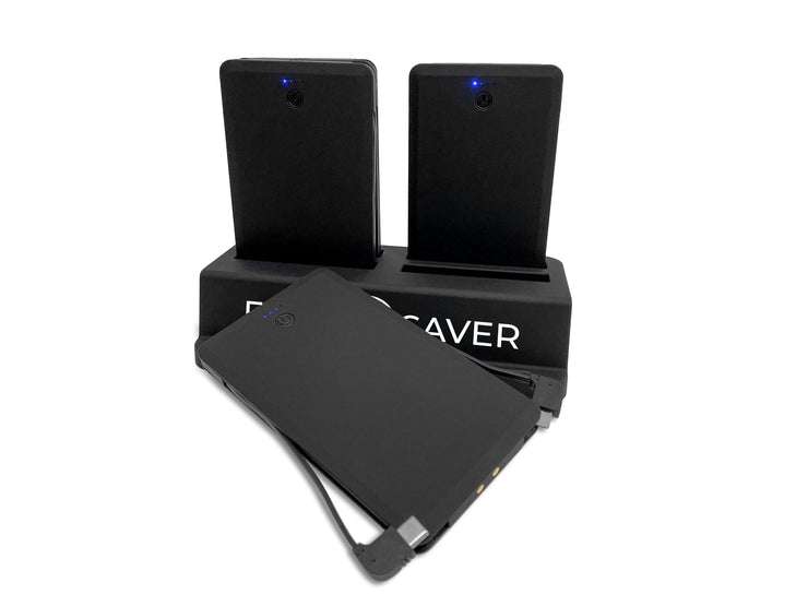 4 Black FoneSaver Power Bank Portable Batteries in the X4 Charger