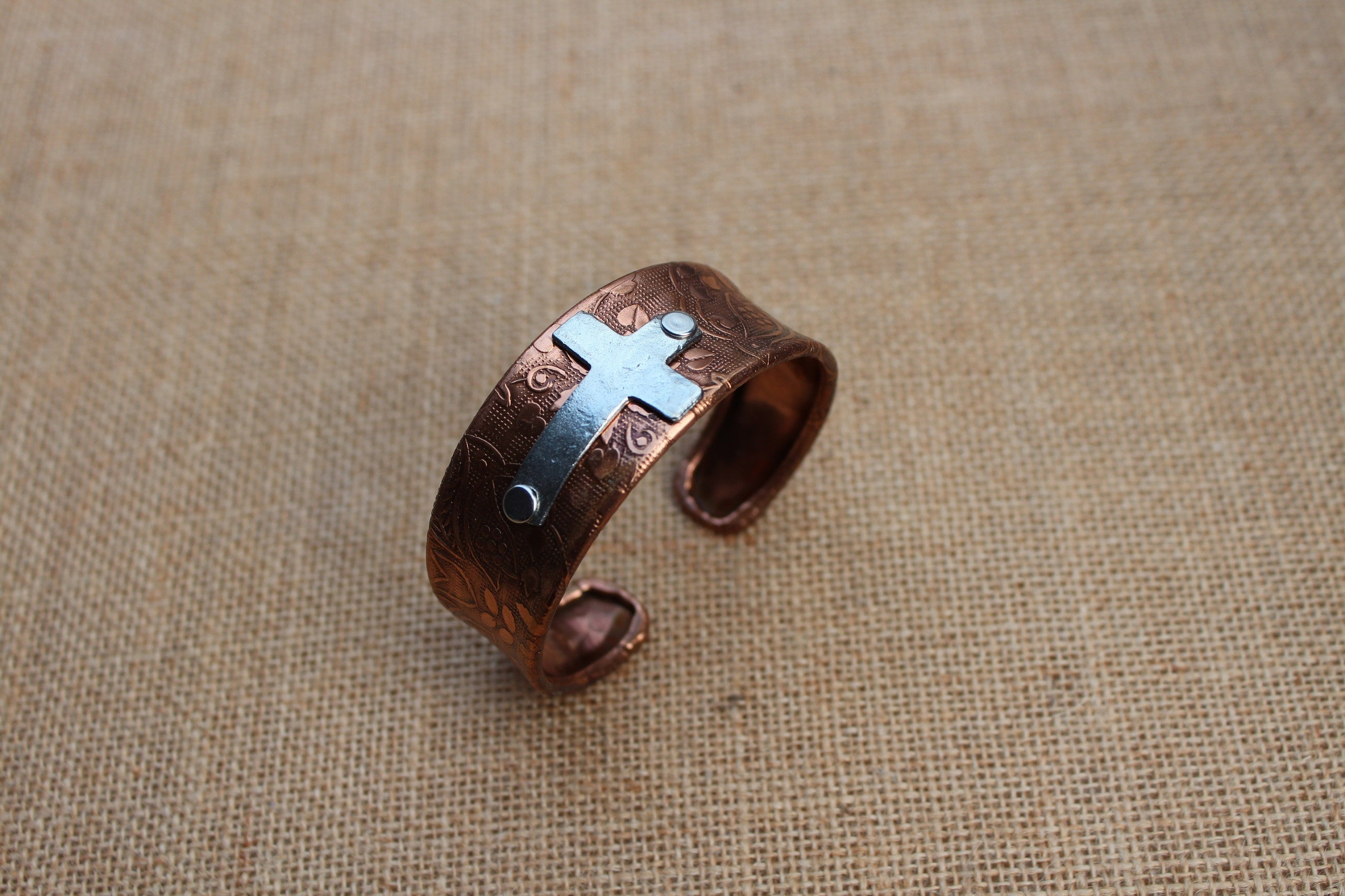 B027CP; Bracelets; Coppertone Embossed Cuff; Pewter Cross; ; ; ; ; Majestees;