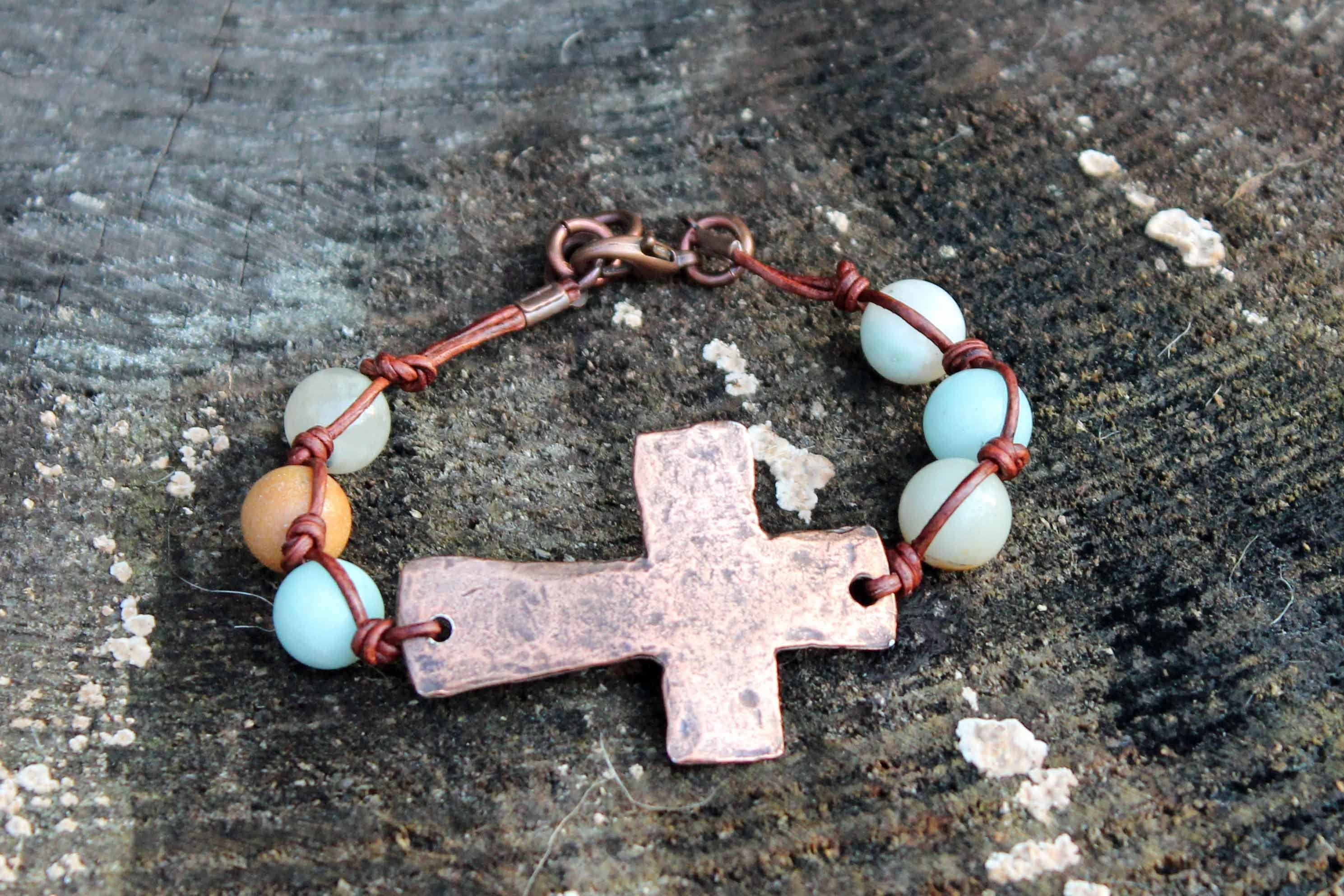 B032C; Bracelets; Large Coppertone Cross; Knotted Brown Leather; Amazonite Beads; Approximately 7.5 inches; ; ; Majestees;