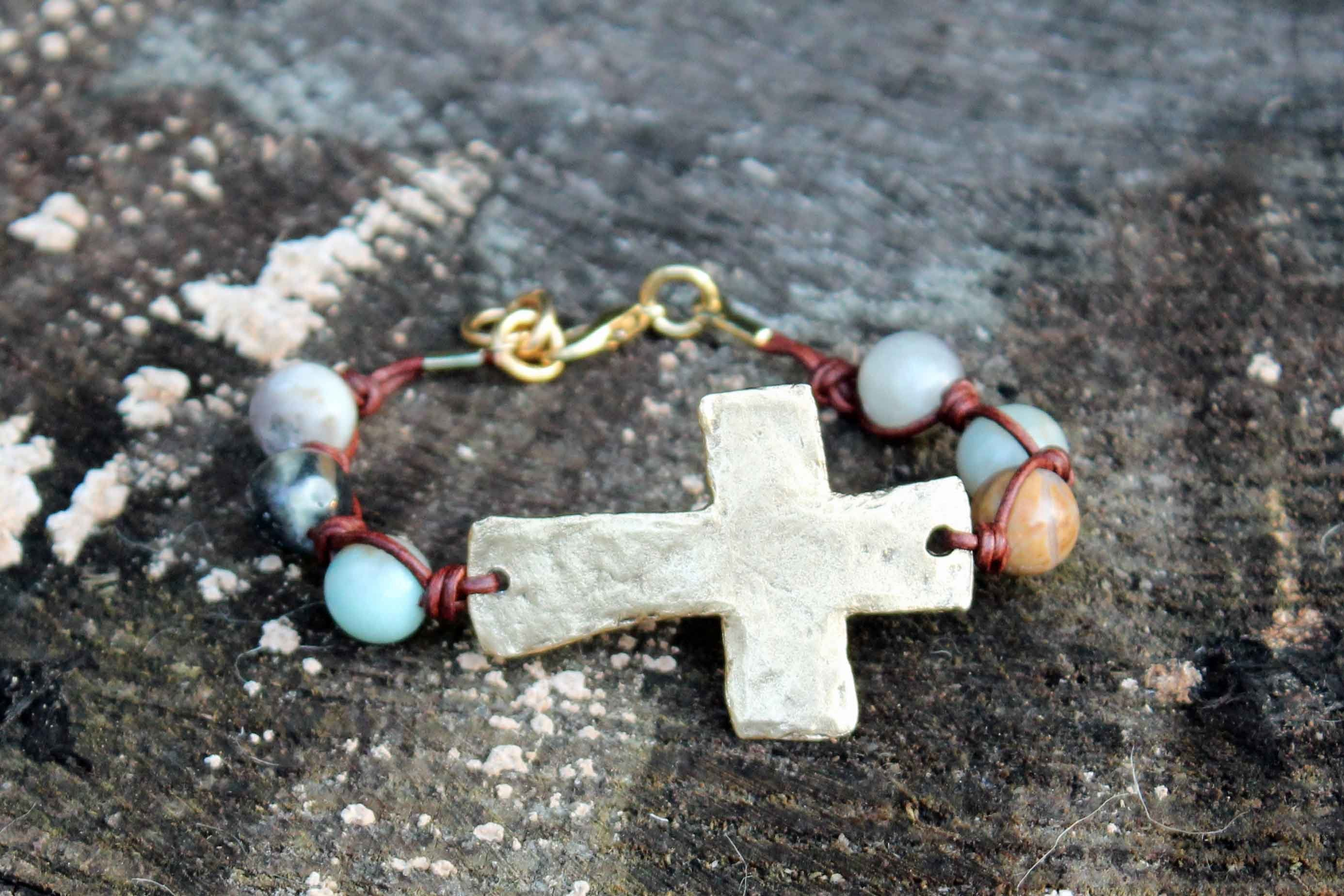 B032G; Bracelets; Large Goldtone Cross ; Knotted Brown Leather; Amazonite Beads; Approximately 7.5 inches; ; ; Majestees;