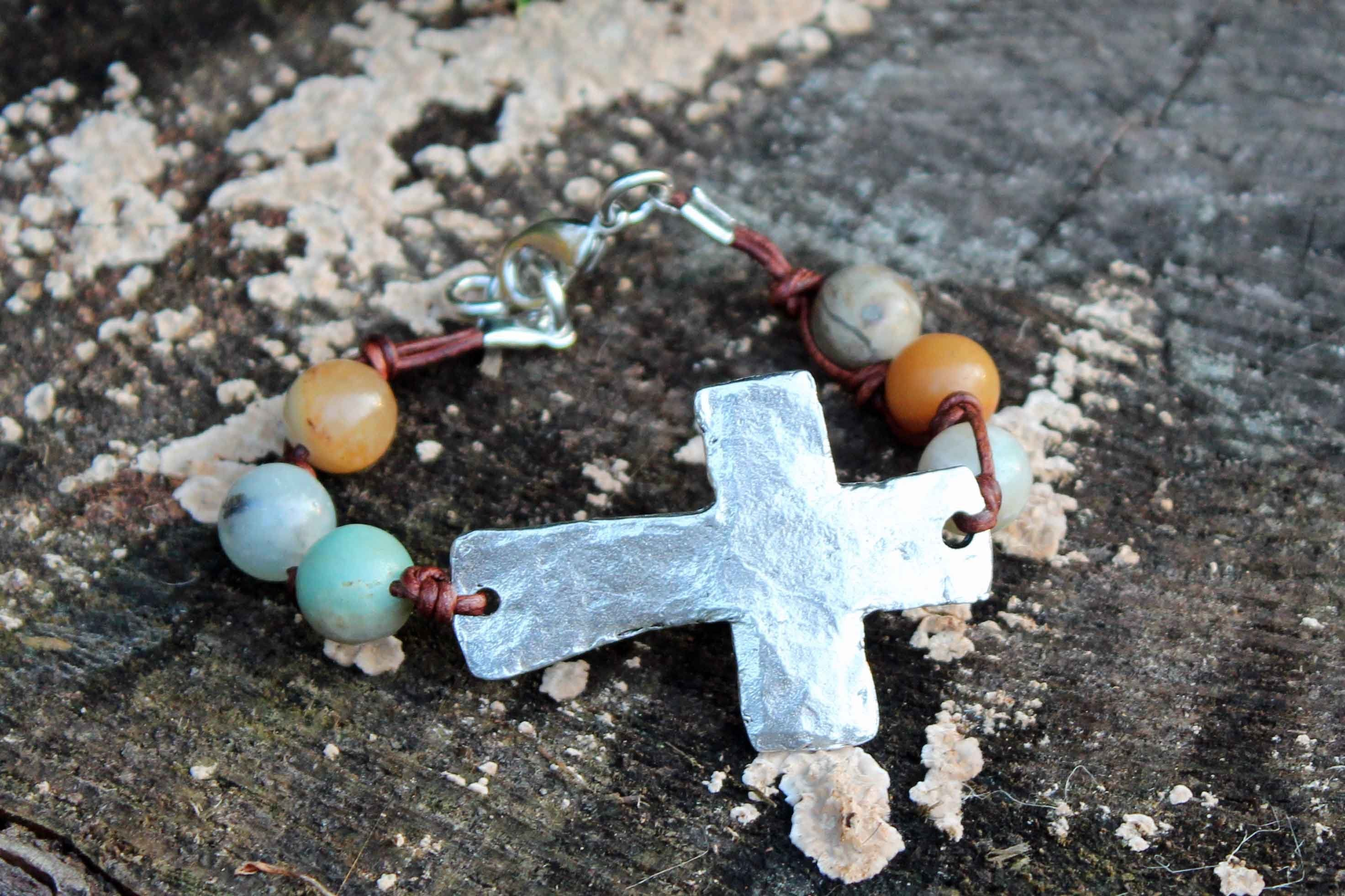 B032P; Bracelets; Large Pewter Cross; Knotted Brown Leather; Amazonite Beads; Approximately 7.5 inches; ; ; Majestees;