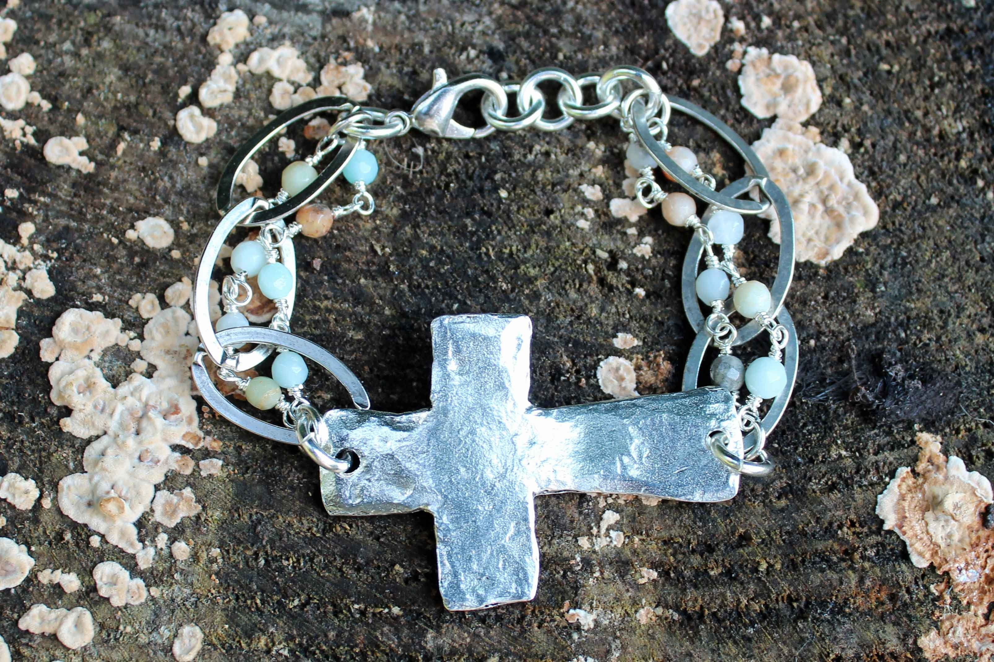 B05PA; Bracelets; Pewter Cross; Amazonite Chain; Approximately 7.5 inches; ; ; ; Majestees;