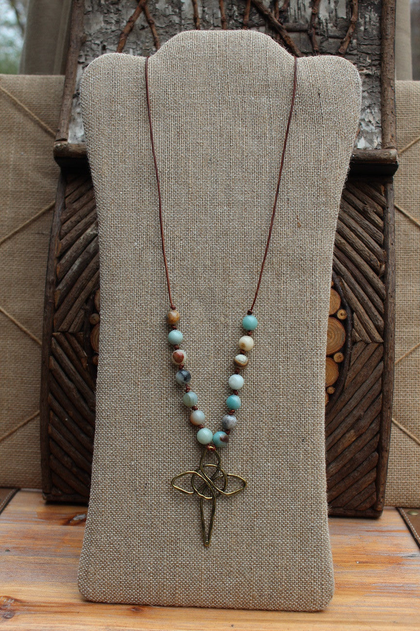 Necklace; Large Goldtone Cross; Brown Leather; Amazonite Beads; Approximately 32 inches; Majestees Christian Apparel Honoring the King of kings