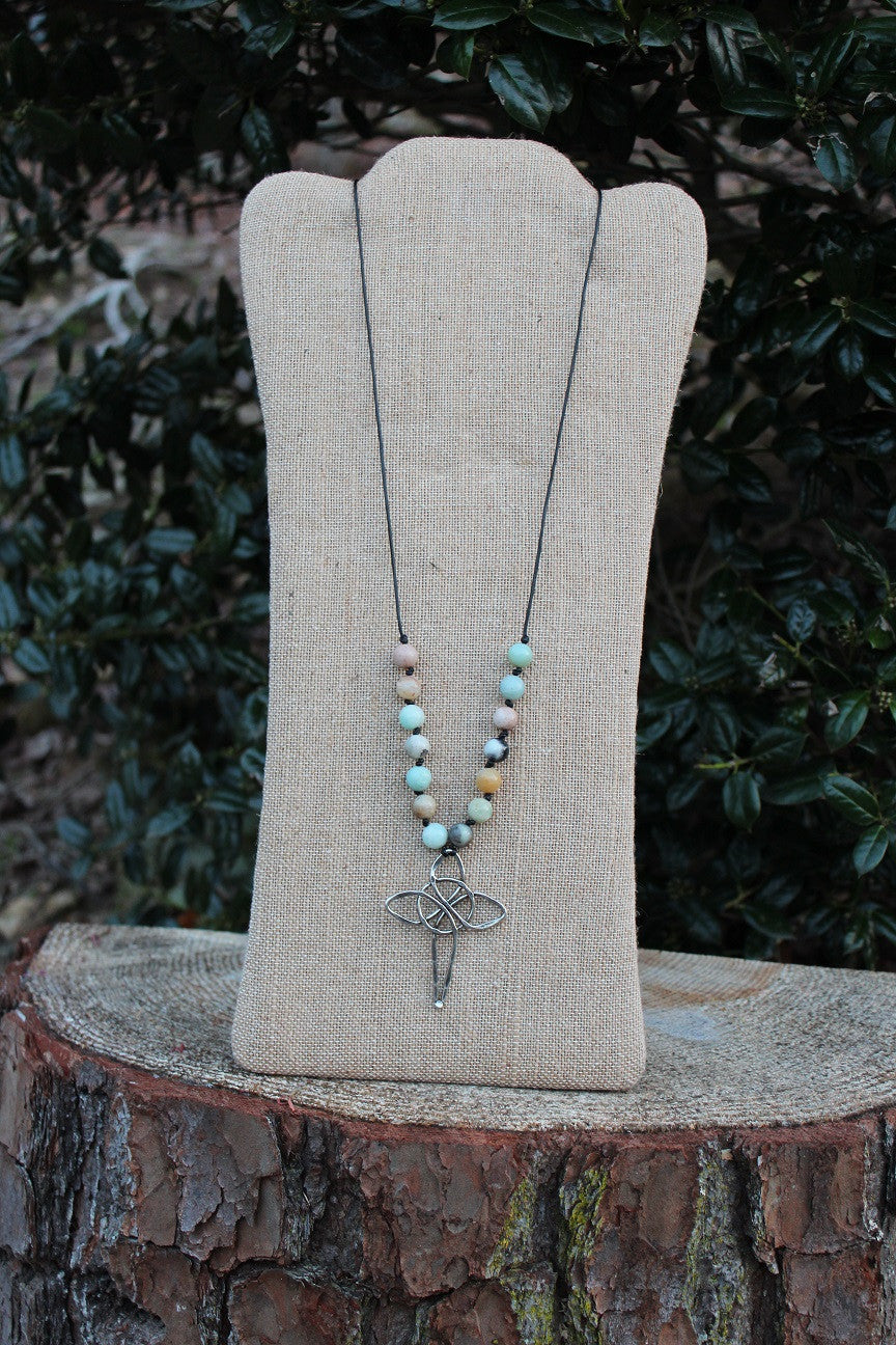 Necklace; Large Pewter Cross; Black Leather; Amazonite Beads; Approximately 32 inches