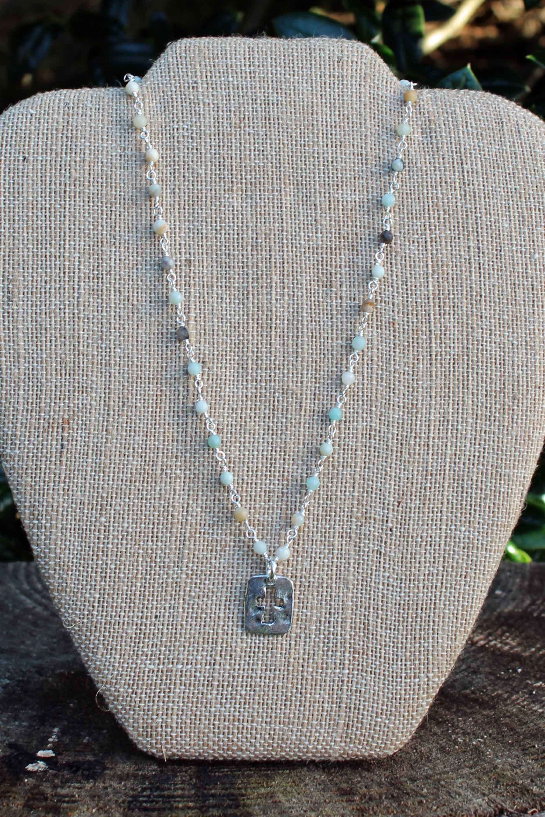 N087PB; Pewter Open Cross; Faceted 3mm Amazonite; Silvertone Chain; Approximately 17 inches; ; ; Majestees