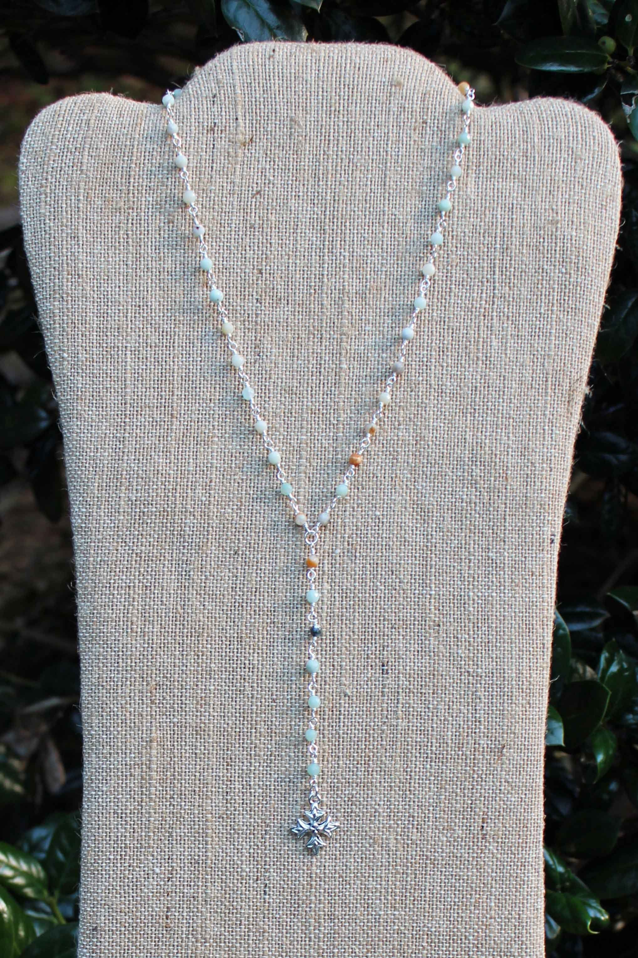 "N089PC; Small Fancy Trinity Cross; On 3.5"" Drop Chain; Faceted 3mm Amazonite; Silvertone Chain; Approximately 17 inches; ; Majestees"