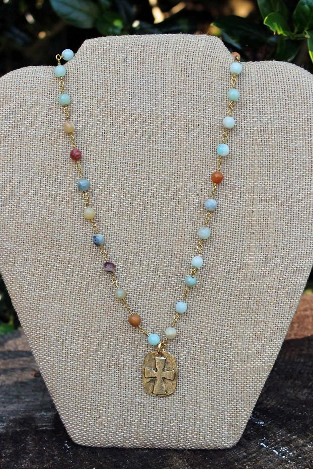 N091GF; Goldtone Relief Cross; Faceted 5mm Amazonite; Goldtone Chain; Approximately 17 inches; ; ; Majestees