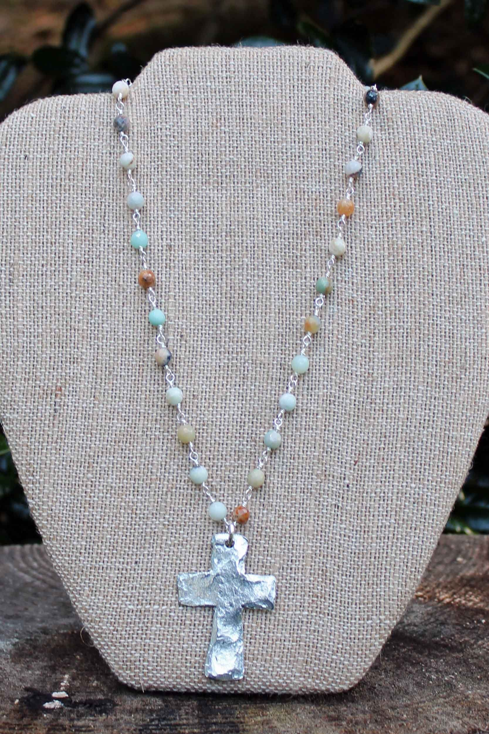 N091PE; Large Silvertone Cross; Faceted 5mm Amazonite; Silvertone Chain; Approximately 17 inches; ; ; Majestees