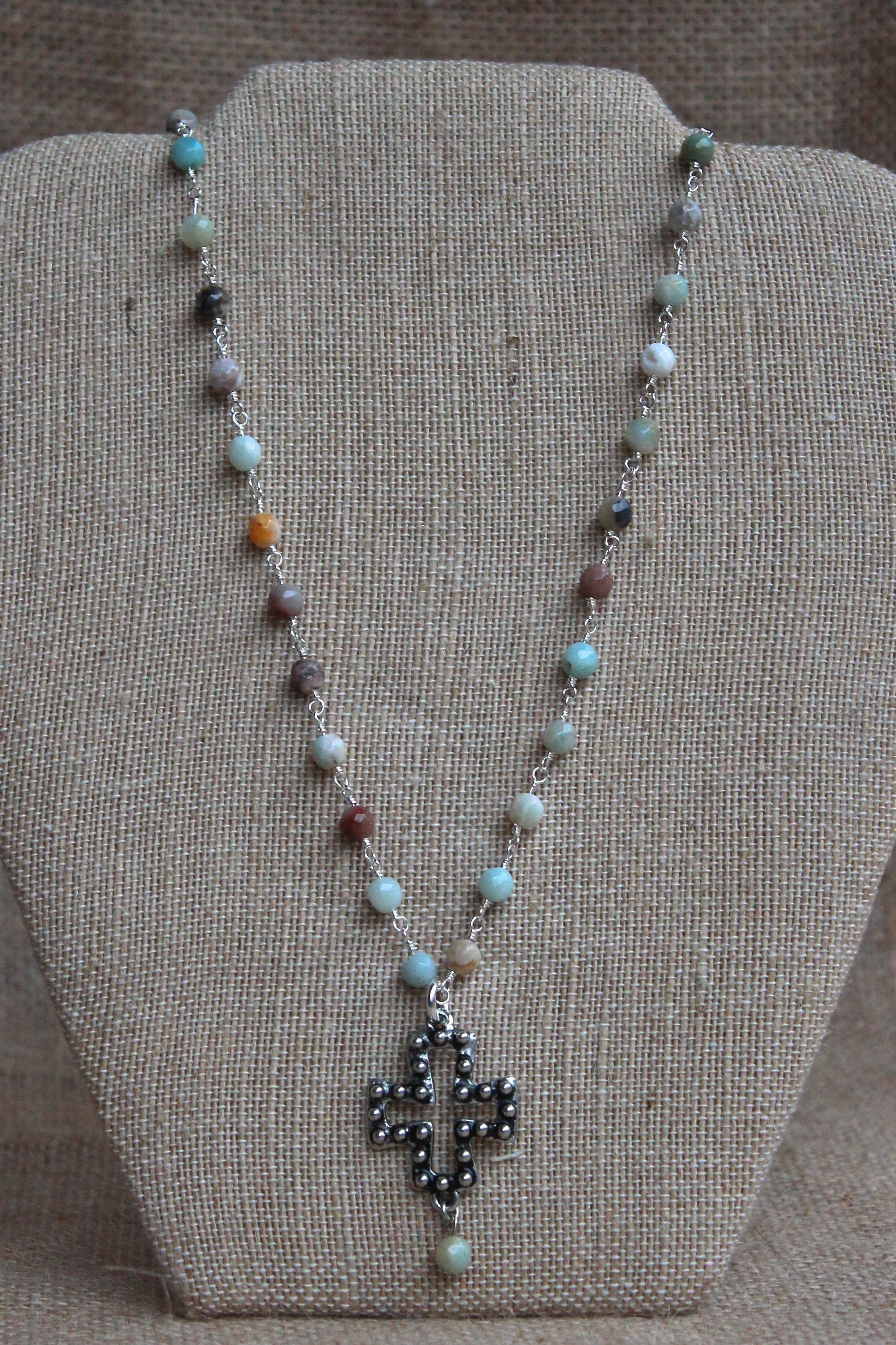 N098P; Pewter Studded Cross; 5mm Amazonite Silvertone Chain; Drop Bead; Approximately 16 inches; ; ; Majestees
