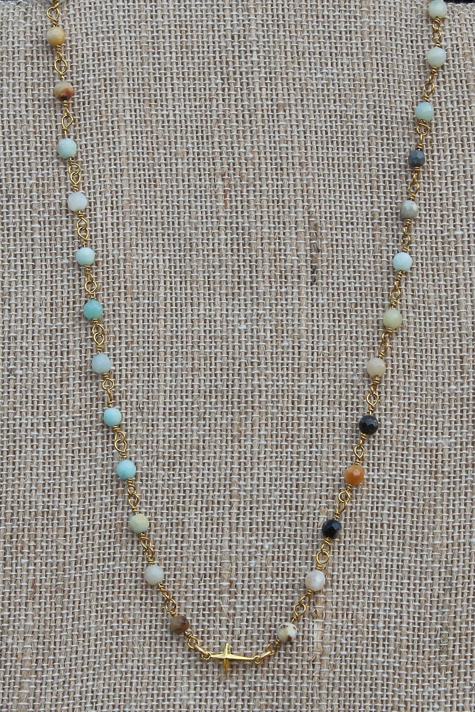 N101G; Tiny Goldtone Cross; 3mm Faceted Amazonite; Approximately 17 inches; ; ; ; Majestees