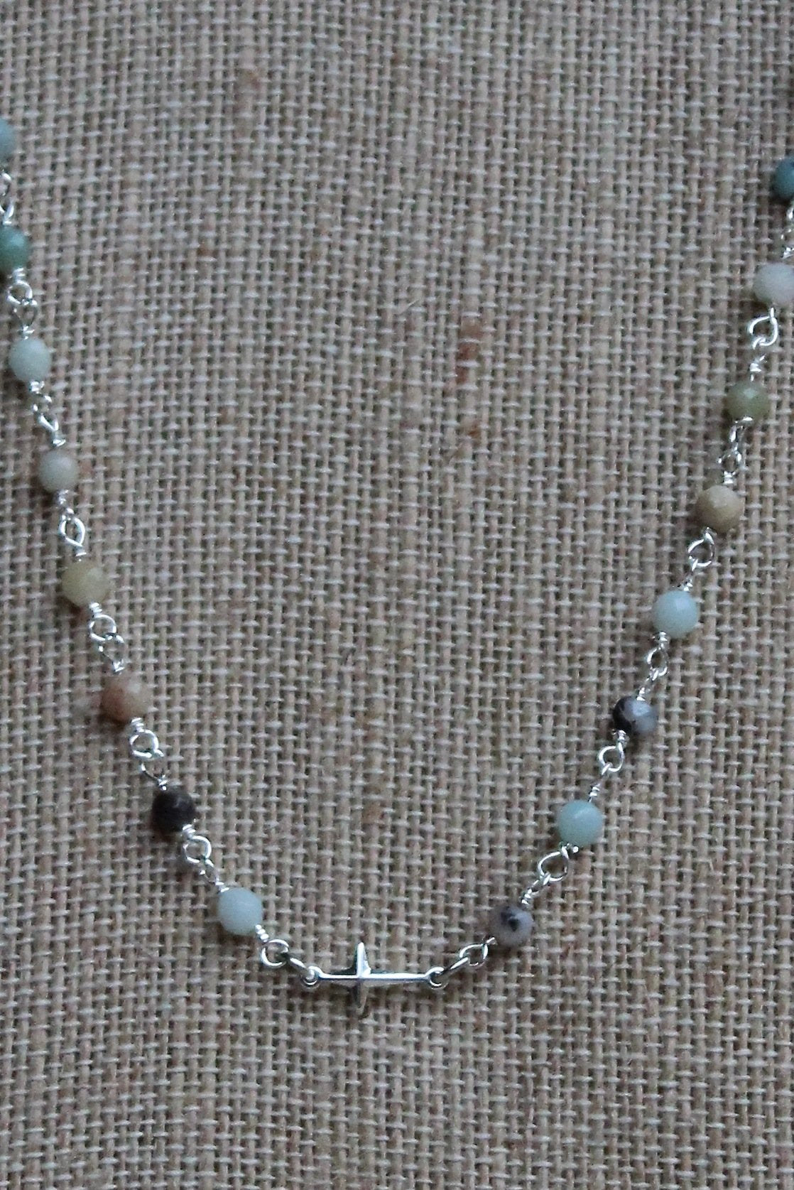 N101S; Tiny Silvertone Cross; 3mm Faceted Amazonite; Approximately 17 inches; ; ; ; Majestees