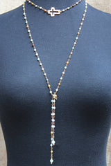 N103G; Wrap Necklace; Goldtone Open Cross; 3mm Amazonite Goldtone Chain; Approximately 53 inches; ; ; Majestees
