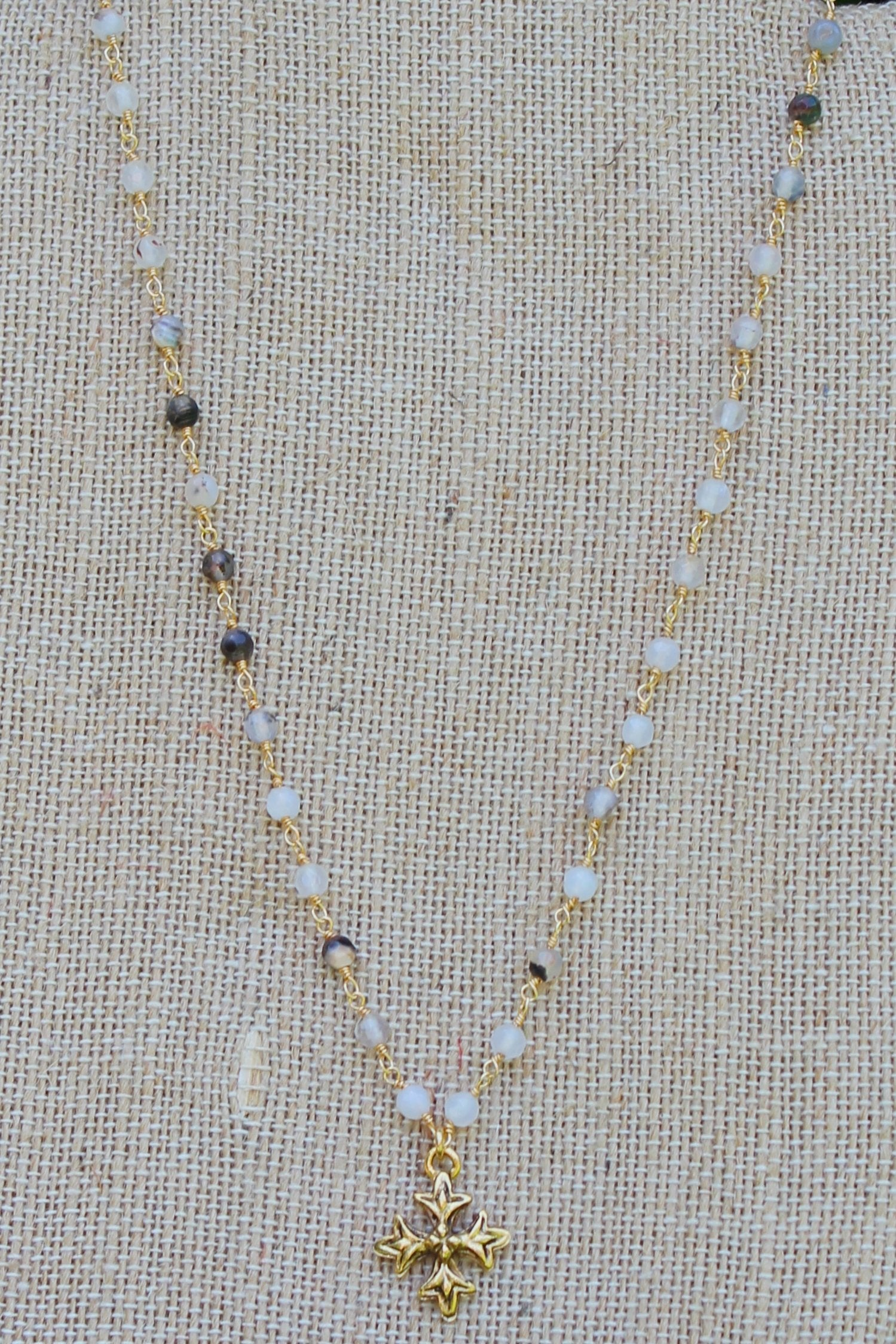 N109GC; Small Goldtone Fancy Trinity Cross; 3mm Black Agate Goldtone Chain; Approximately 17 inches; ; ; ; Majestees