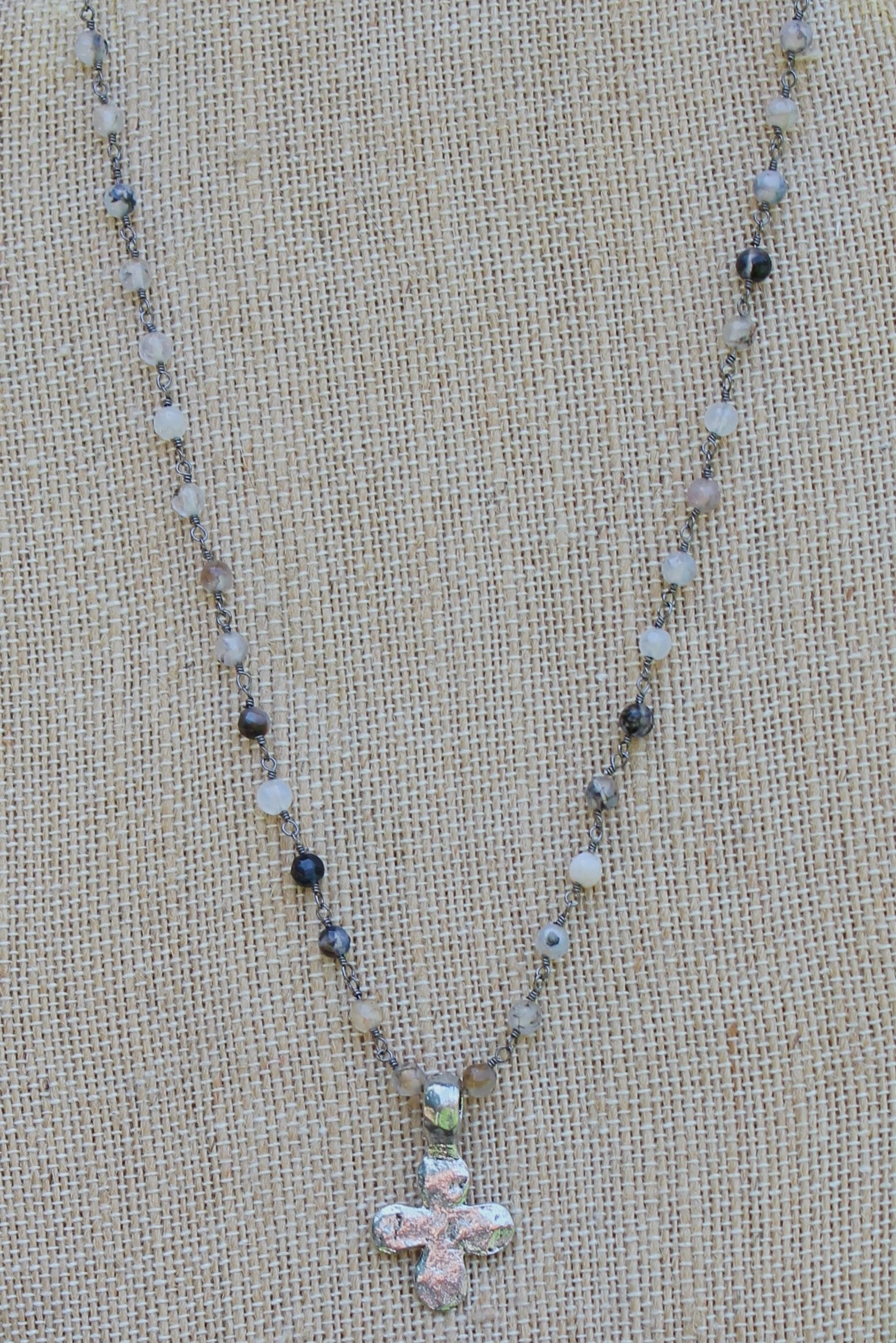 N109PA; Small Pewter Rounded Cross; 3mm Black Agate Silvertone Chain; Approximately 17 inches; ; ; ; Majestees