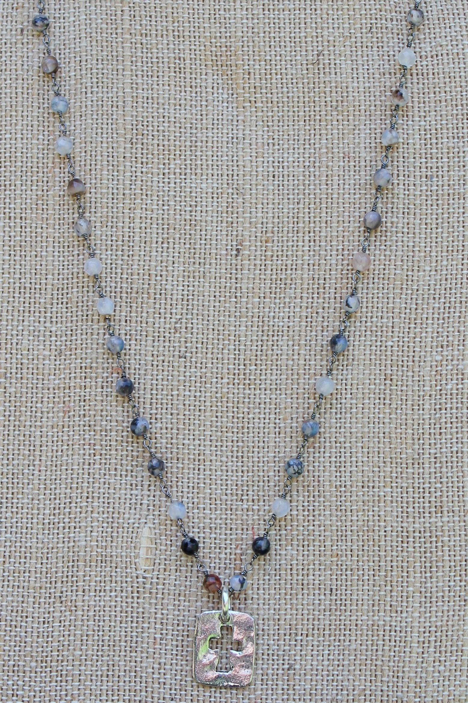 N109PB; Small Pewter Open Cross; 3mm Black Agate Silvertone Chain; Approximately 17 inches; ; ; ; Majestees