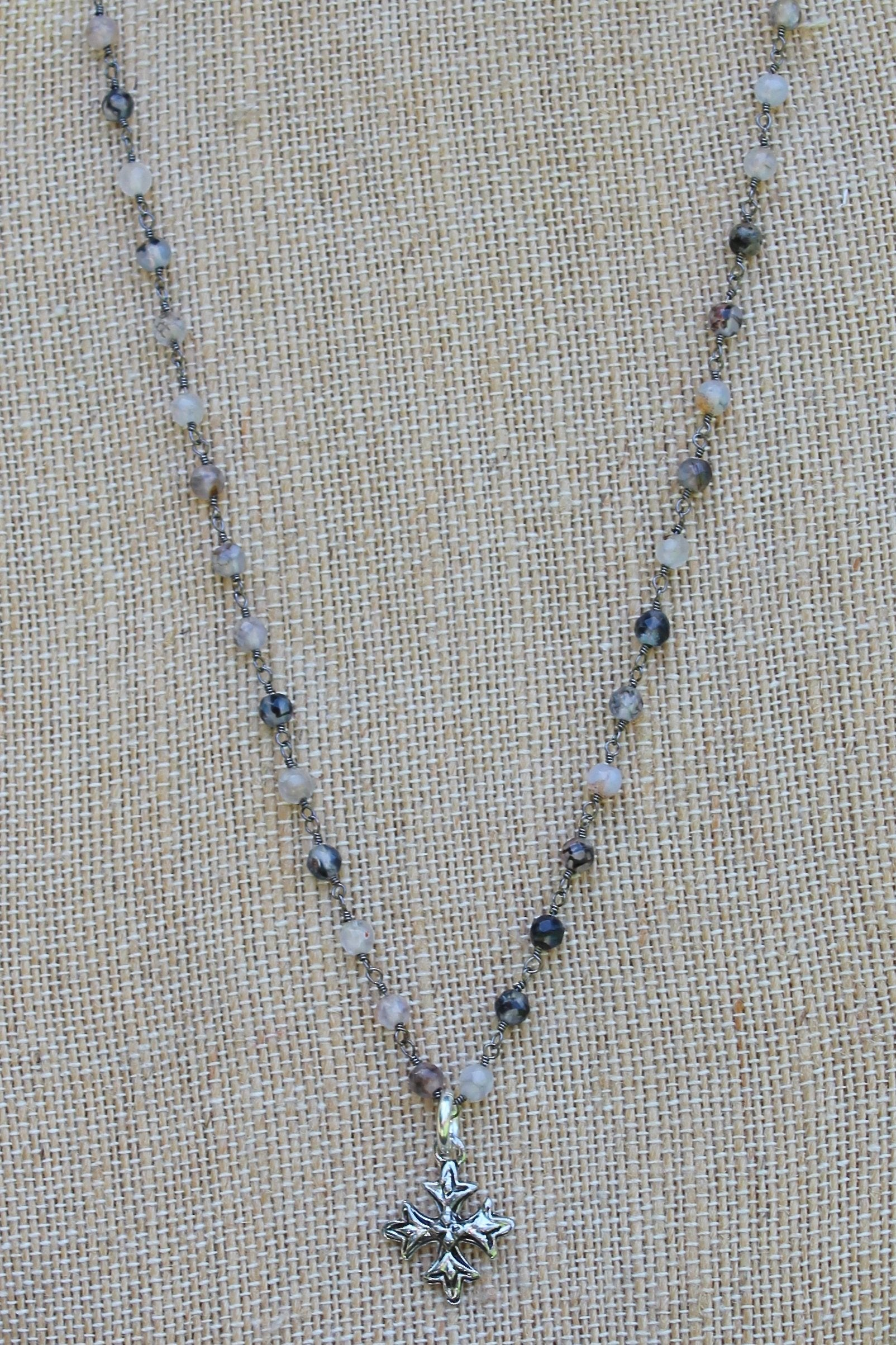 N109PC; Small Pewter Fancy Cross; 3mm Black Agate Silvertone Chain; Approximately 17 inches; ; ; ; Majestees