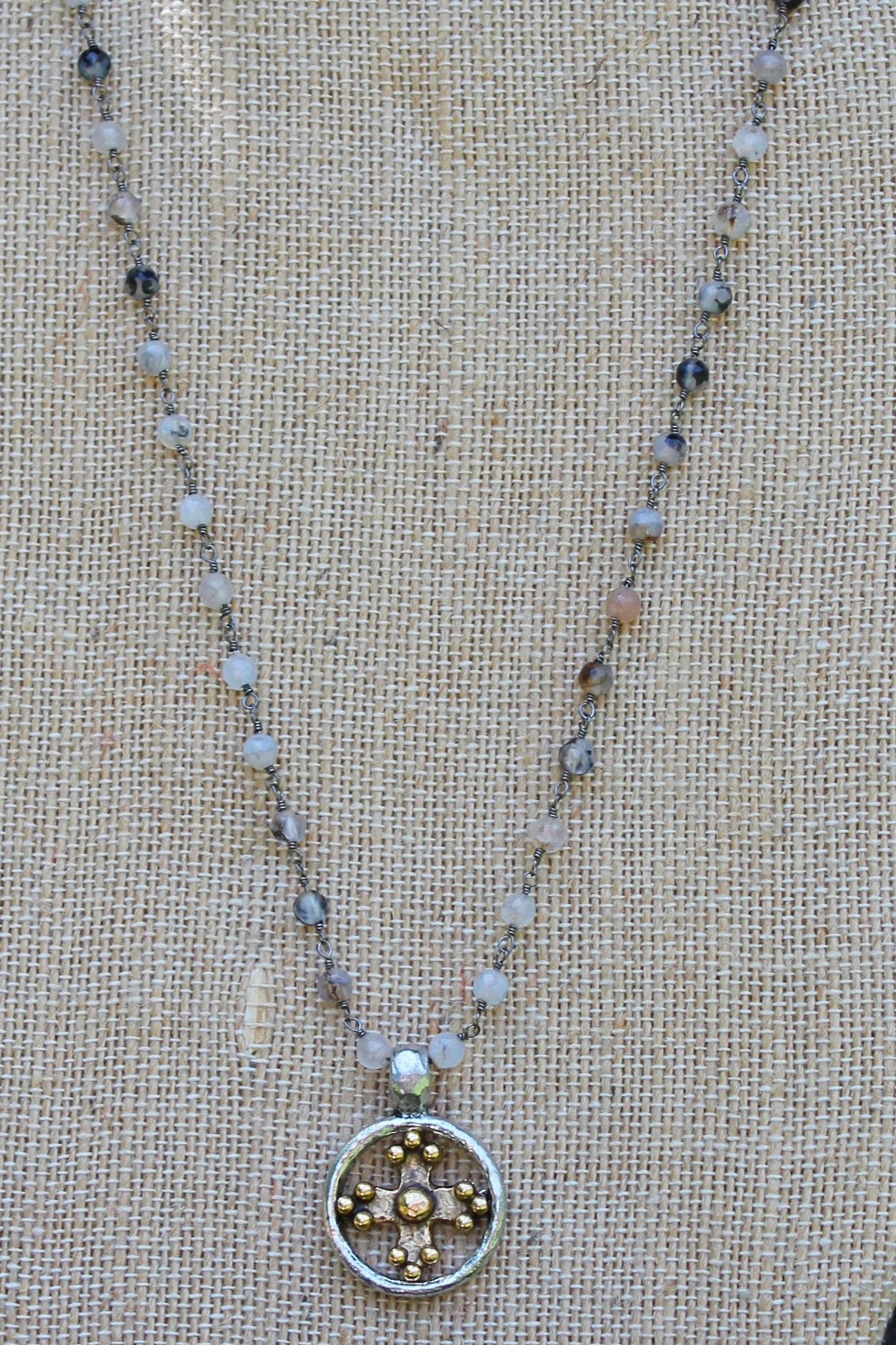 N109PD; Goldtone Cross Encircled in Pewter; 3mm Black Agate Silvertone Chain; Approximately 17 inches; ; ; ; Majestees