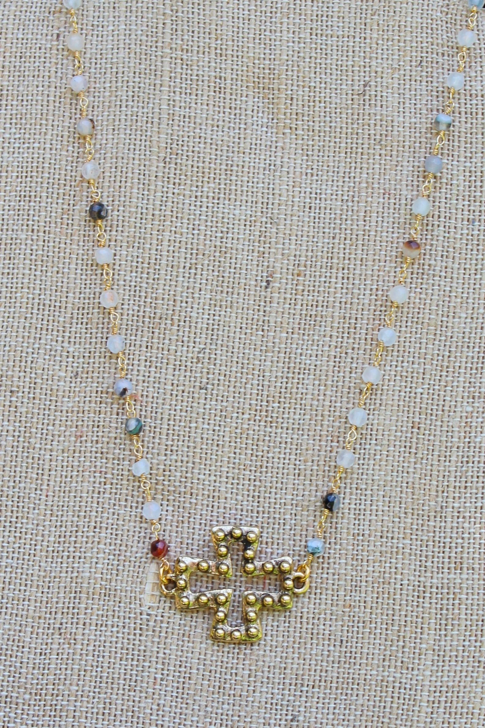 N111G; Goldtone Studded Cross; 3mm Black Agate Goldtone Chain; Approximately 16 inches; ; ; ; Majestees