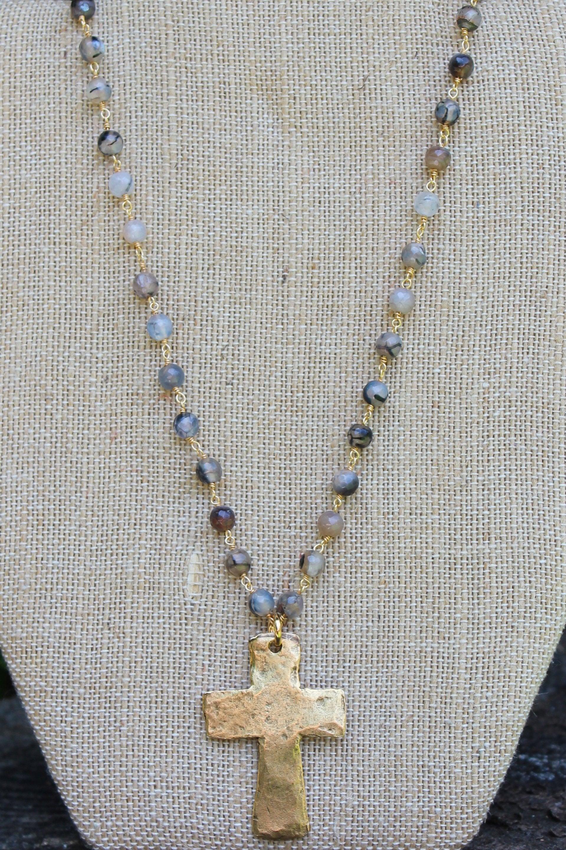 N113GE; Large Goldtone Cross; 5mm Black Agate Goldtone Chain; Approximately 16 inches; ; ; ; Majestees