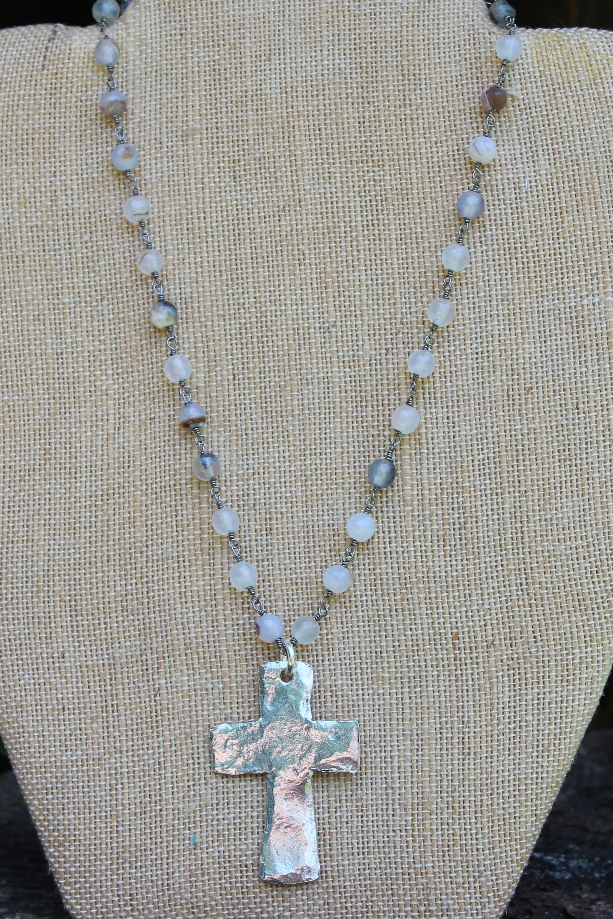 N113PE; Large Pewter Cross; 5mm Black Agate Silvertone Chain; Approximately 16 inches; ; ; ; Majestees