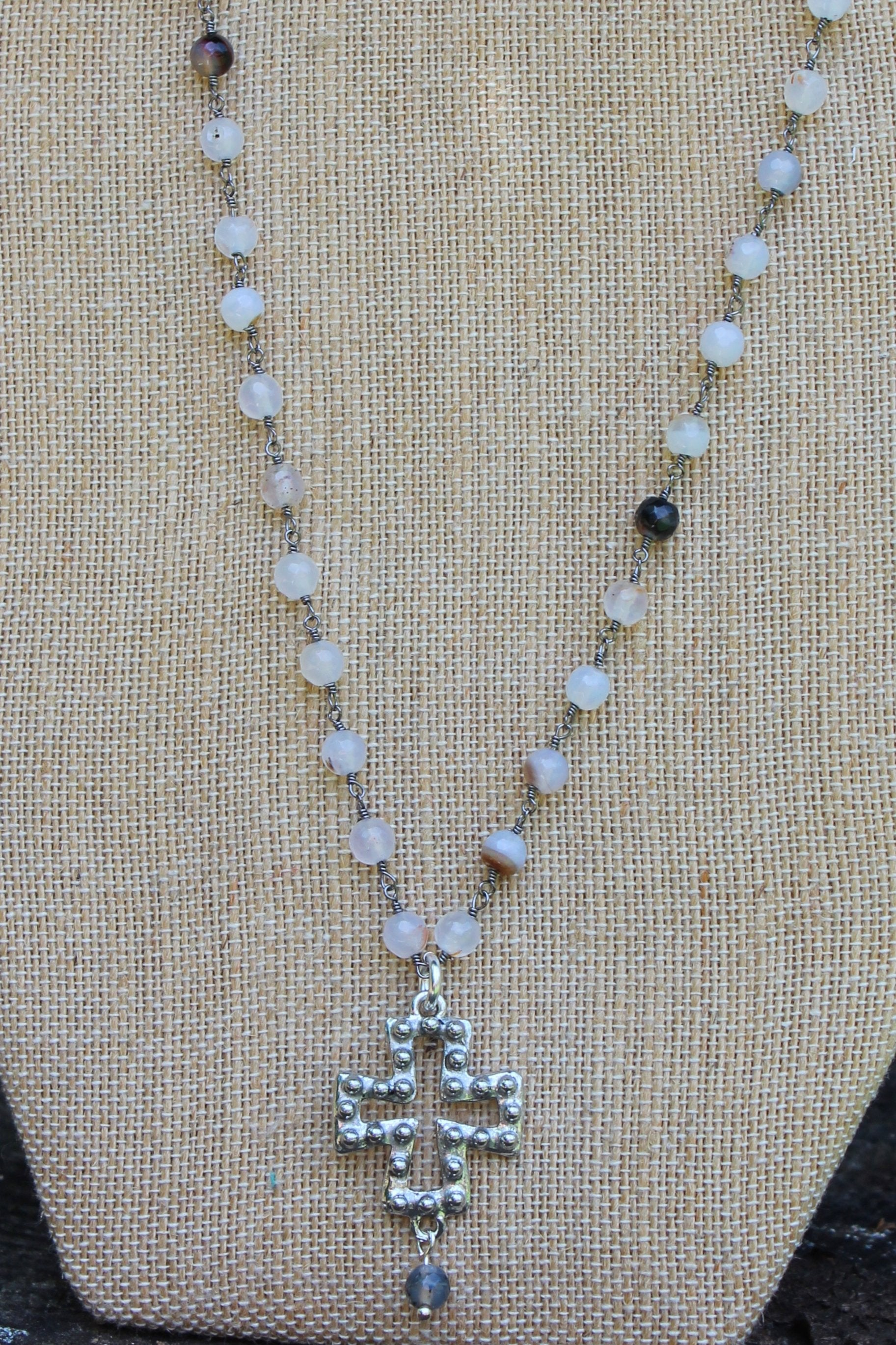 N114P; Pewter Studded Cross; 5mm Black Agate Silvertone Chain; Drop Bead; Approximately 16 inches; ; ; Majestees