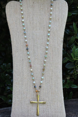 N115G; Large Goldtone Cross; 5mm Amazonite Goldtone Chain; Approximately 32 inches; ; ; ; Majestees