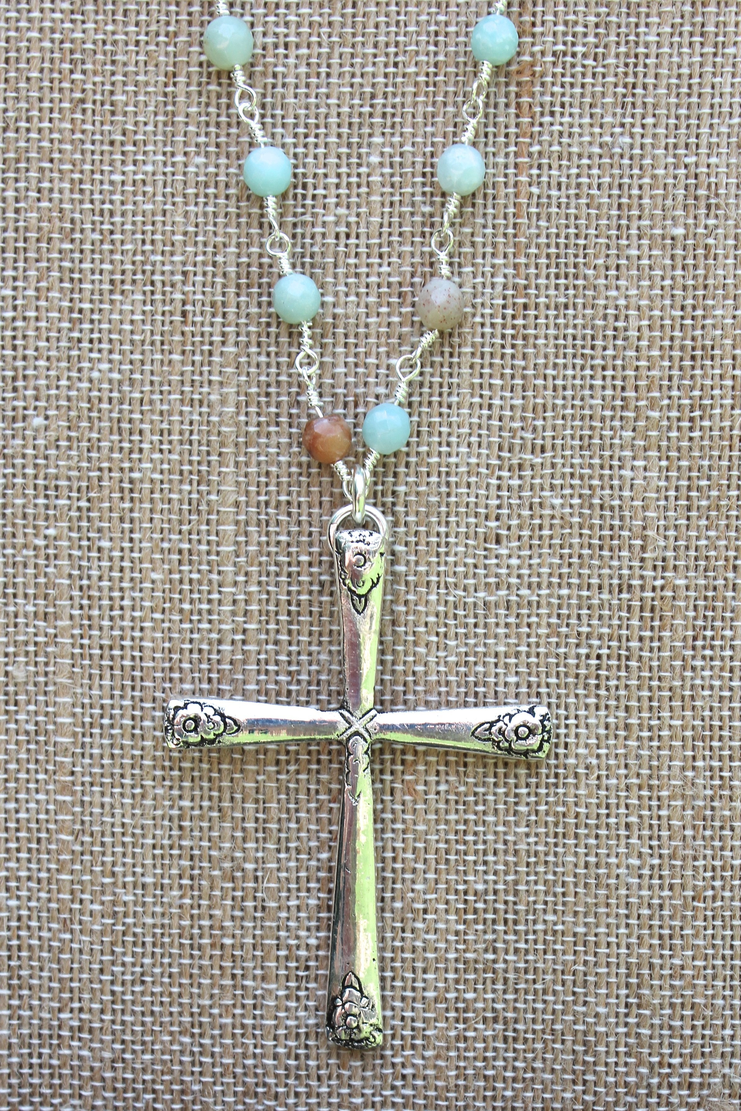 N115P; Large Pewter Cross; 5mm Amazonite Silvertone Chain; Approximately 32 inches; ; ; ; Majestees