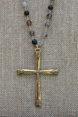 N116G; Large Goldtone Cross; 5mm Black Agate Goldtone Chain; Approximately 32 inches; ; ; ; Majestees