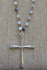 N116P; Large Pewter Cross; 5mm Black Agate Silvertone Chain; Approximately 32 inches; ; ; ; Majestees