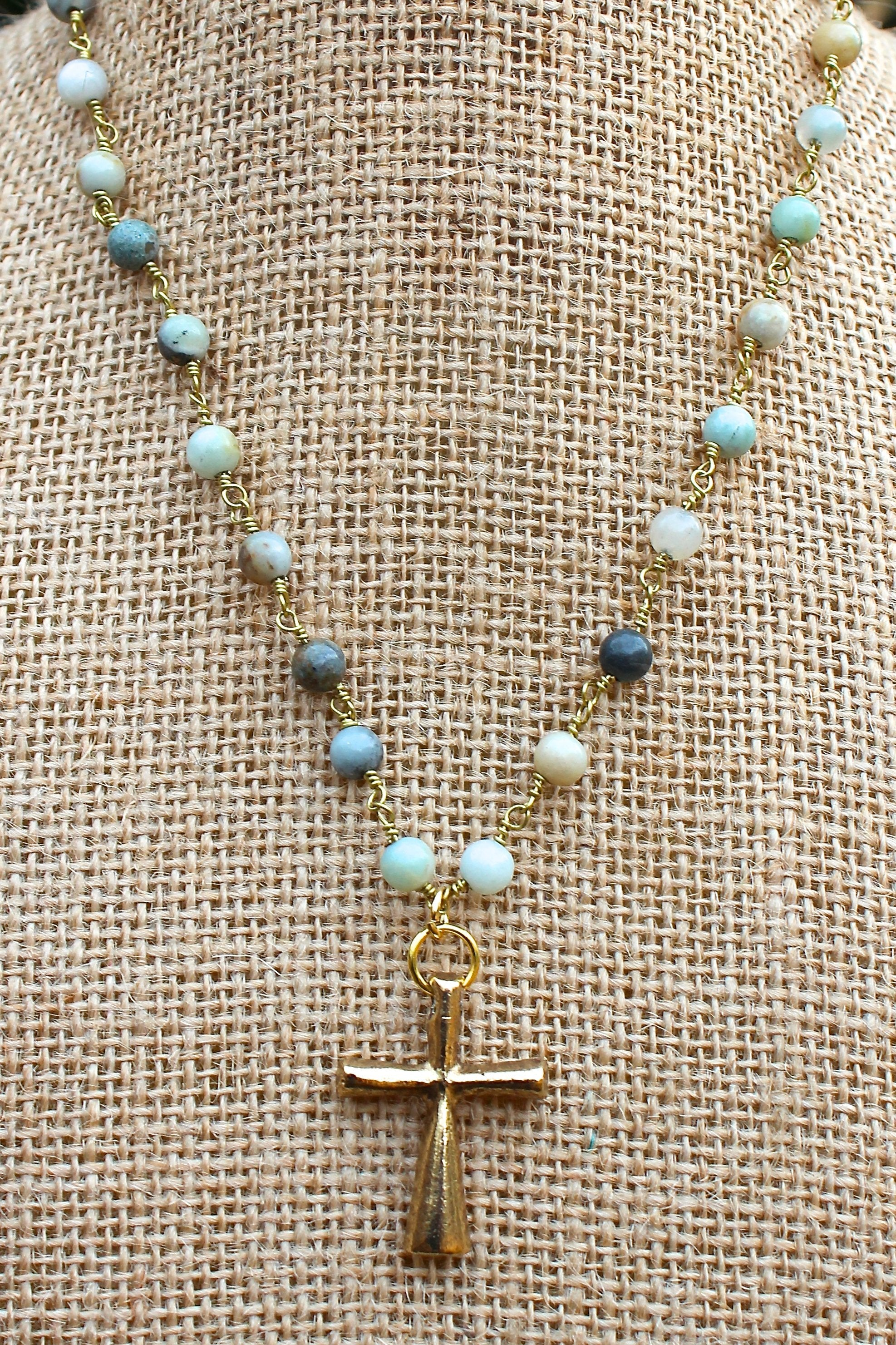 N127GA; Tubular Goldtone Cross; 5mm Goldtone Amazonite Chain; Approximately 16 inches; ; ; ; Majestees