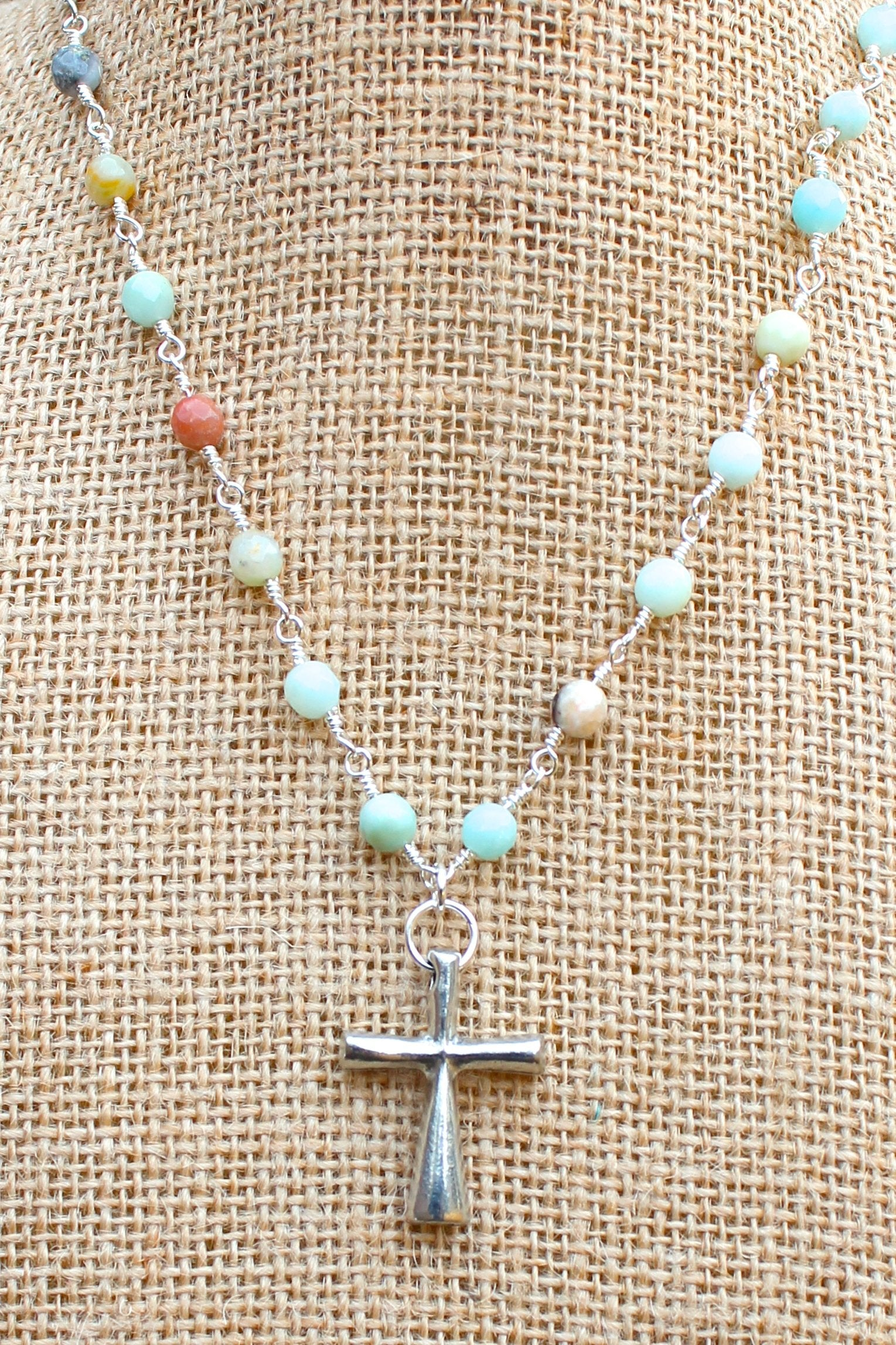N127PA; Tubular Pewter Cross; 5mm Silvertone Amazonite Chain; Approximately 16 inches; ; ; ; Majestees