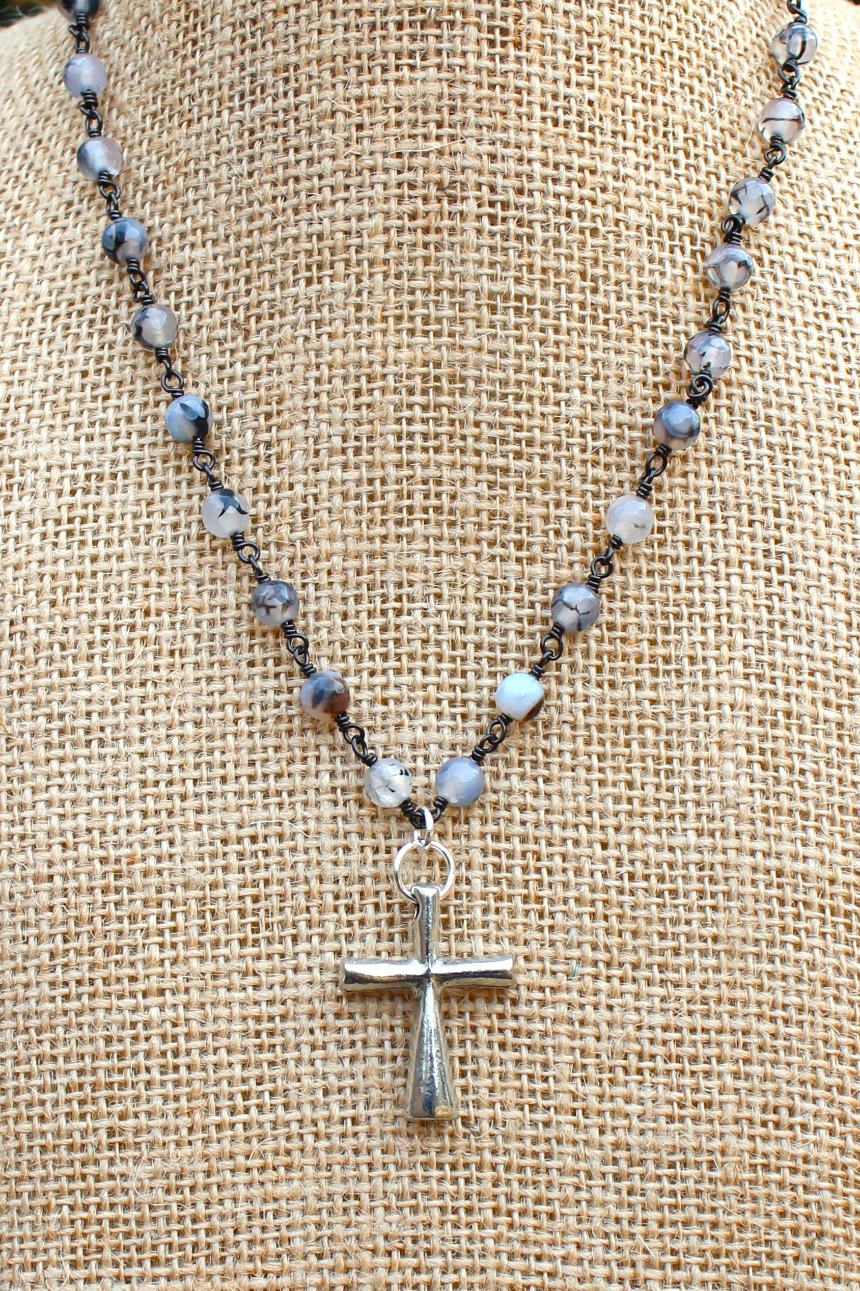 N127PB; Tubular Pewter Cross; 5mm Silvertone Black Agate Chain; Approximately 16 inches; ; ; ; Majestees
