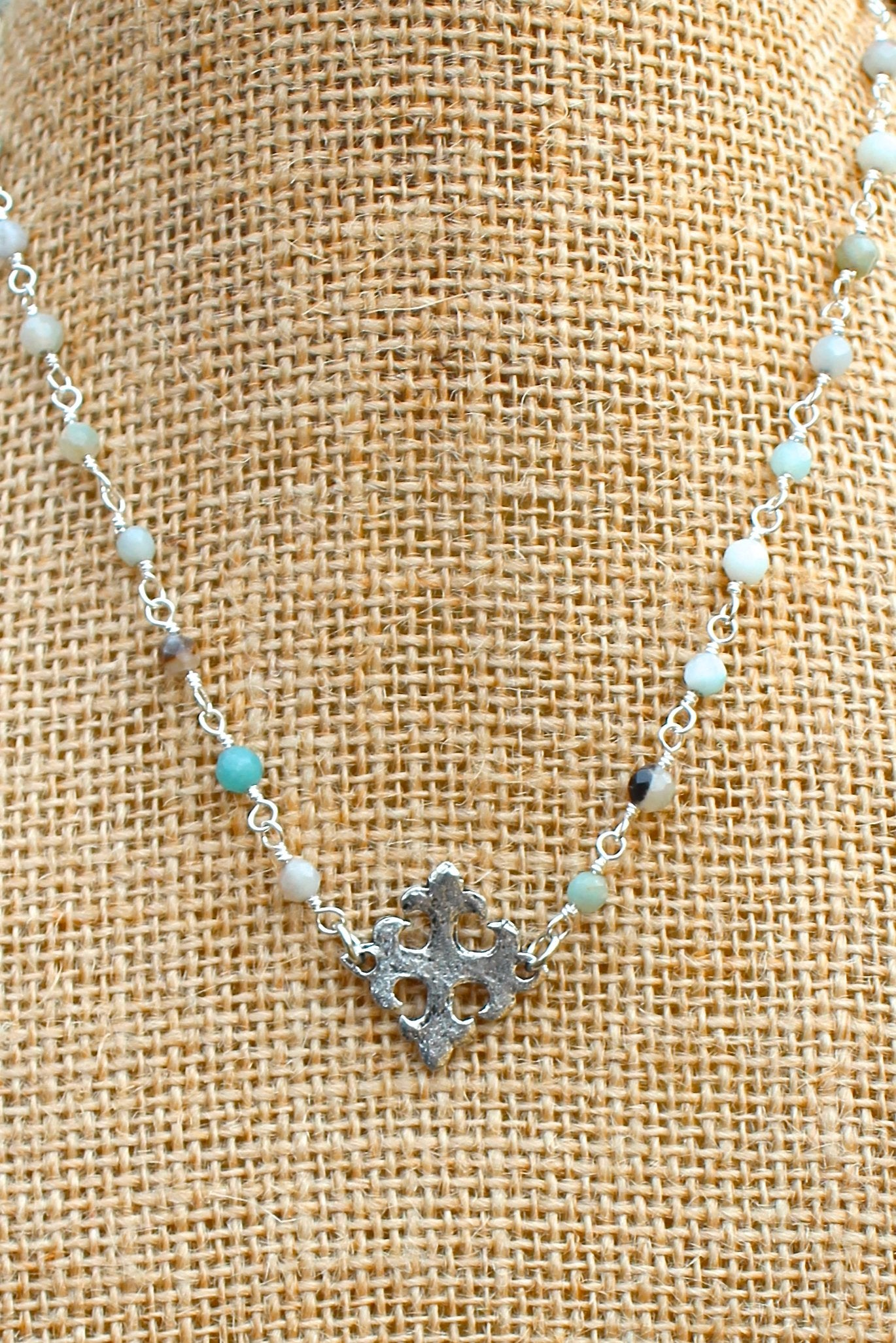 N129PA; Hammered Pewter Fleur-de-lis Cross; 3mm Silvertone Amazonite Chain; Approximately 16 inches; ; ; ; Majestees