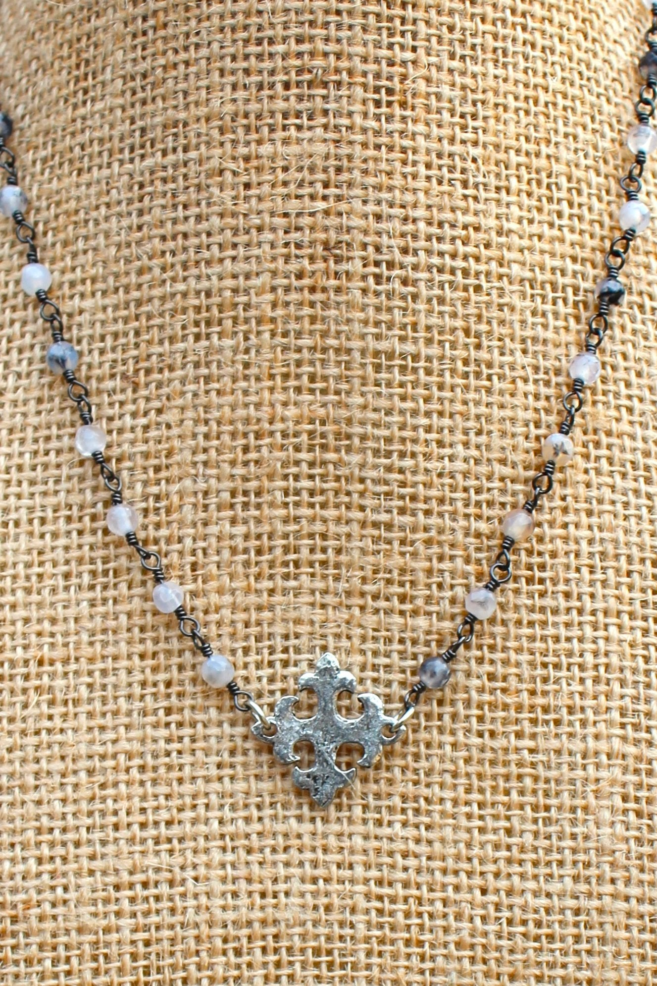 N129PB; Hammered Pewter Fleur-de-lis Cross; 3mm Silvertone Black Agate Chain; Approximately 16 inches; ; ; ; Majestees