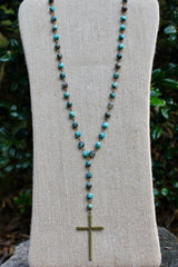 N133B; Brasstone Cross; Natural Ocean Agate Chain; Appproximately 36 inches with 5 inch Drop; ; ; ; Majestees