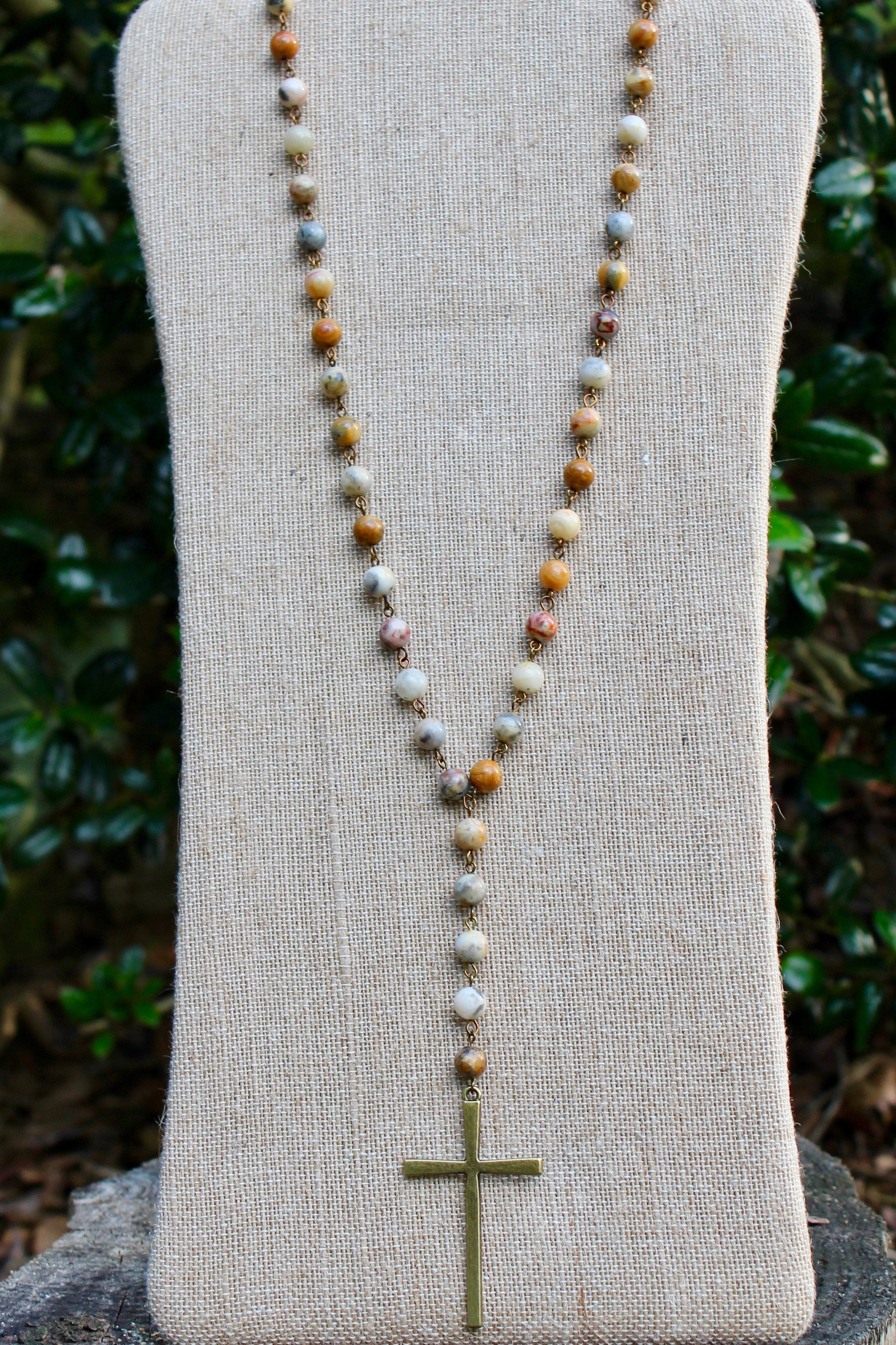 N133E; Brasstone Cross; Earthtone Picasso Jasper Chain; Appproximately 36 inches with 5 inch Drop; ; ; ; Majestees